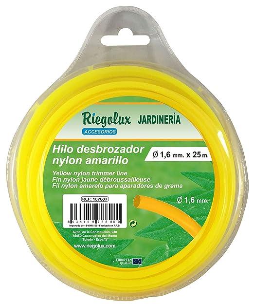 Riegolux 107637 Hilo Desbrozadora Nylon Redonda, Amarillo, 1.6 mm ...