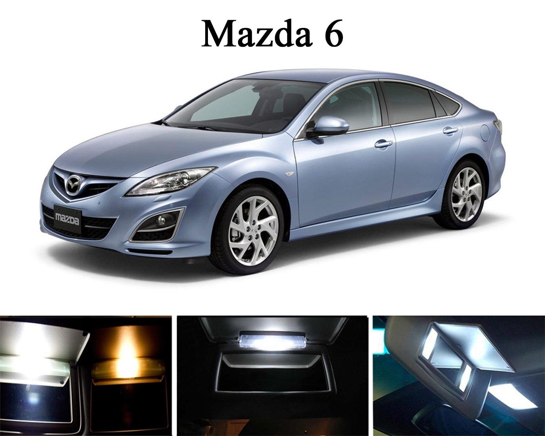 2009 - 2015 Mazda 6 Xenon Bombillas LED de color blanco para tocador/parasol (4 piezas): Amazon.es: Coche y moto
