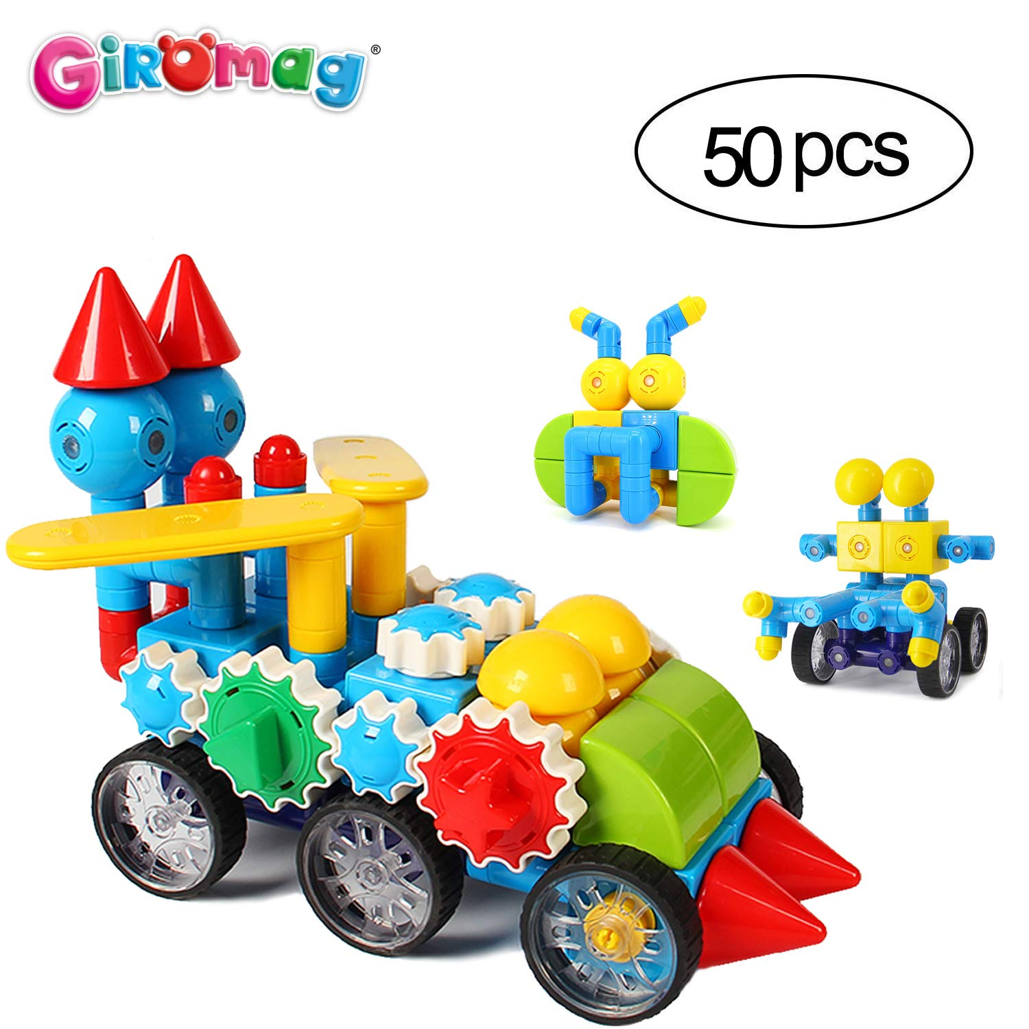 Giromag Magnetic Blocks Construction Film,Building Toys Age 3+,Magnet Toy,ABS Edible Plastic (8707-Mgl50Pcs)
