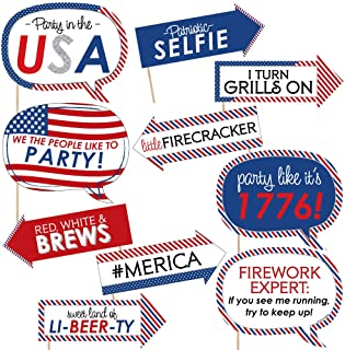 product image for Big Dot of Happiness Funny 4th of July - Independence Day Photo Booth Props Kit - 10 Piece