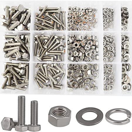 Tap Bolts M5 Outer Hexagon Screws Gasket Washer Spring Pad Nut Combination Suit Screw 304 Stainless Steel Screws Color : 12mm, Size : M5 10sets