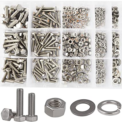 Hex Flat Head Bolts M4 M5 M6 Metric Screws Nuts Hardware Flat and Lock  Washers SAE Assortment Kit 304 Stainless Steel,510pcs