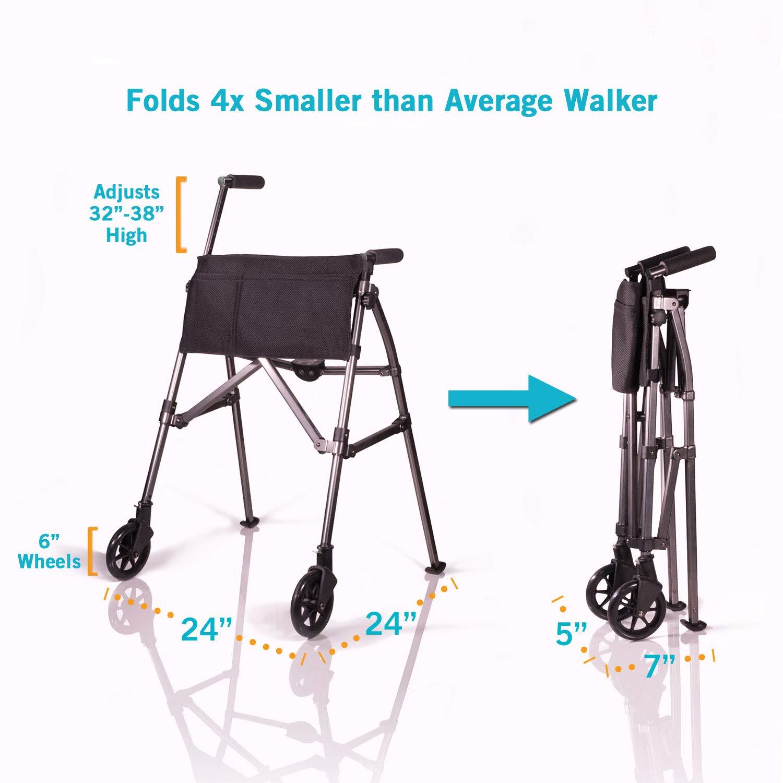 Able2 - Fold n Go - Andador con 2 ruedas antracita: Amazon ...