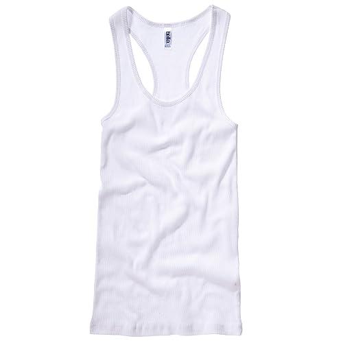B&C Camiseta de tirantes larga en canalé con espalda estilo nadadora para chica/mujer