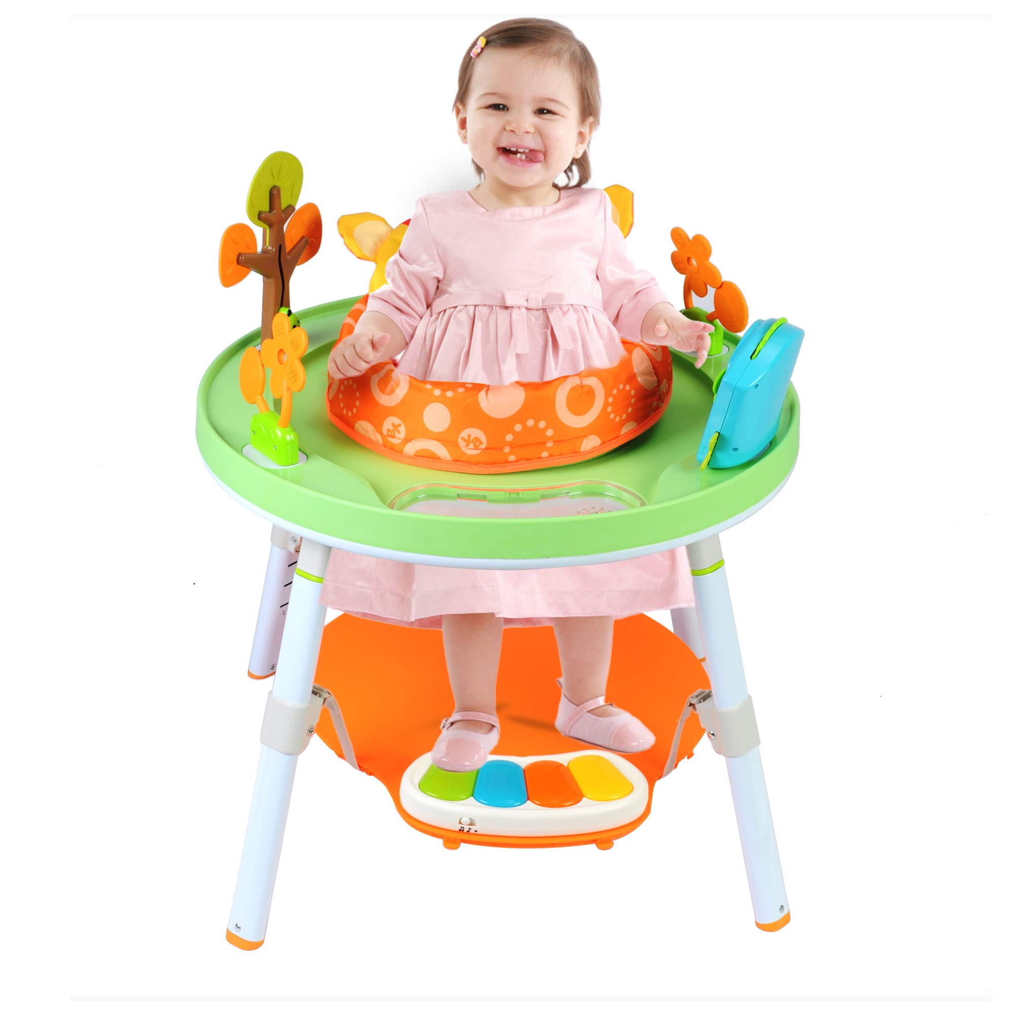 Dporticus Baby 3-Stage Jump Entertainers Activity Center Playful Multi-Function Jump&Rocking Chair with Toys and Music,Orange
