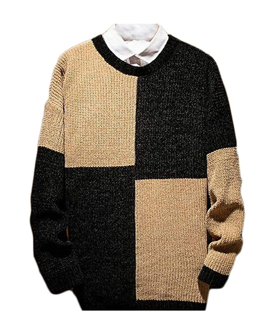 KLJR Men Casual Fashion Long Sleeve Round Neck Pullover Sweater Knit Jumper