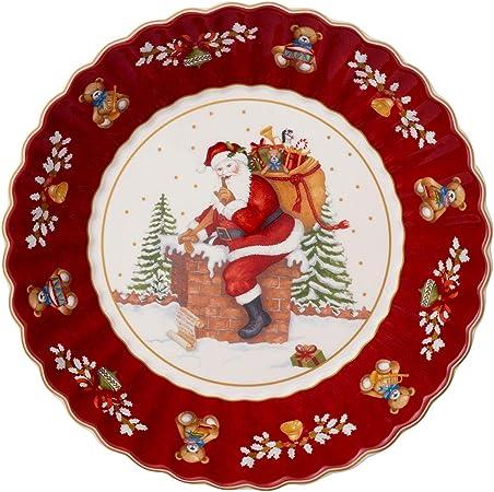 Villeroy /& Boch Toy/'s Fantasy Ciotola Rettangolare Motivo Babbo Natale sul Tetto 23 x 23 x 3.5 cm Rosso//Multicolore