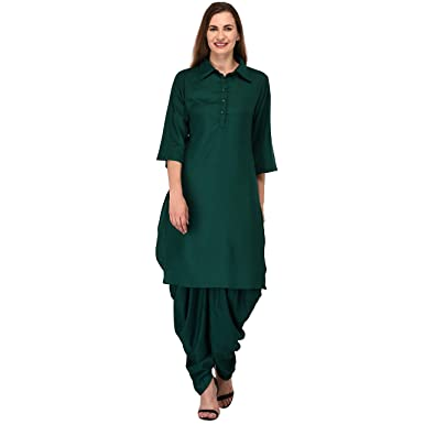 754f9be0799 PATRORNA Cotton Silk Blend Women s Patola Style Pathani Kurta Kurti in  Bottle Green (F07A003BG)  Amazon.in  Clothing   Accessories