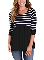 HOTAPEI Women Casual Contrast 3 4 Sleeve Striped Round Neck Blouse Peplum Tops