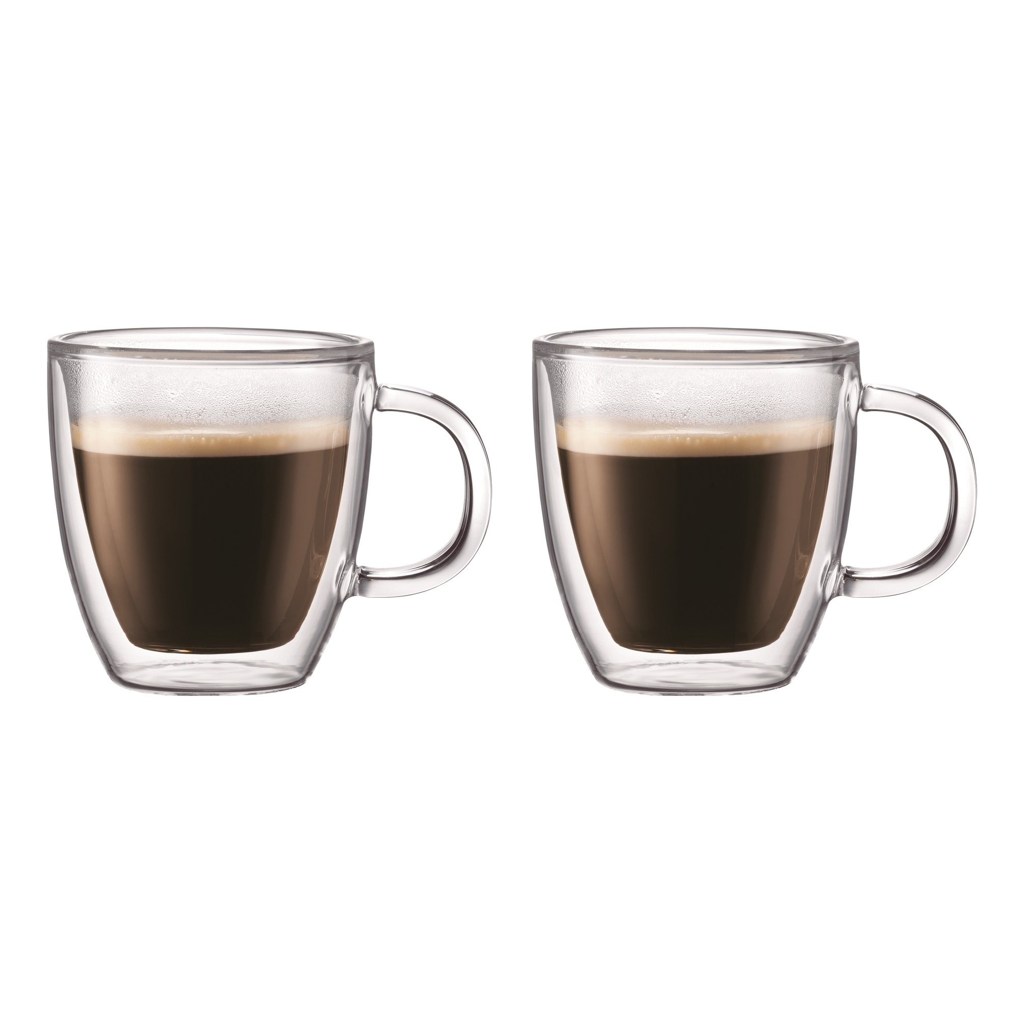 Bodum Bistro Coffee Mug, Double-Wall Insulated Glass Mugs, Clear.15 Liter, 5 Ounces Each (Set of 2)