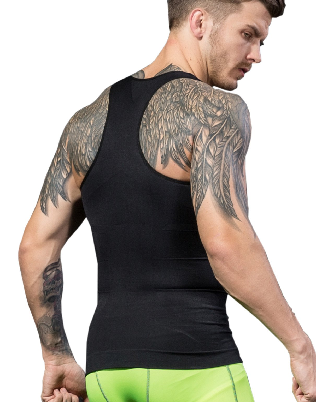 BXUSOZL Men's Slimming Body Shaper Compression Vest Shirt,Y-Back Slim Fit Seamless Undershirt Shapewear,Abdomen Slim (Black, M)