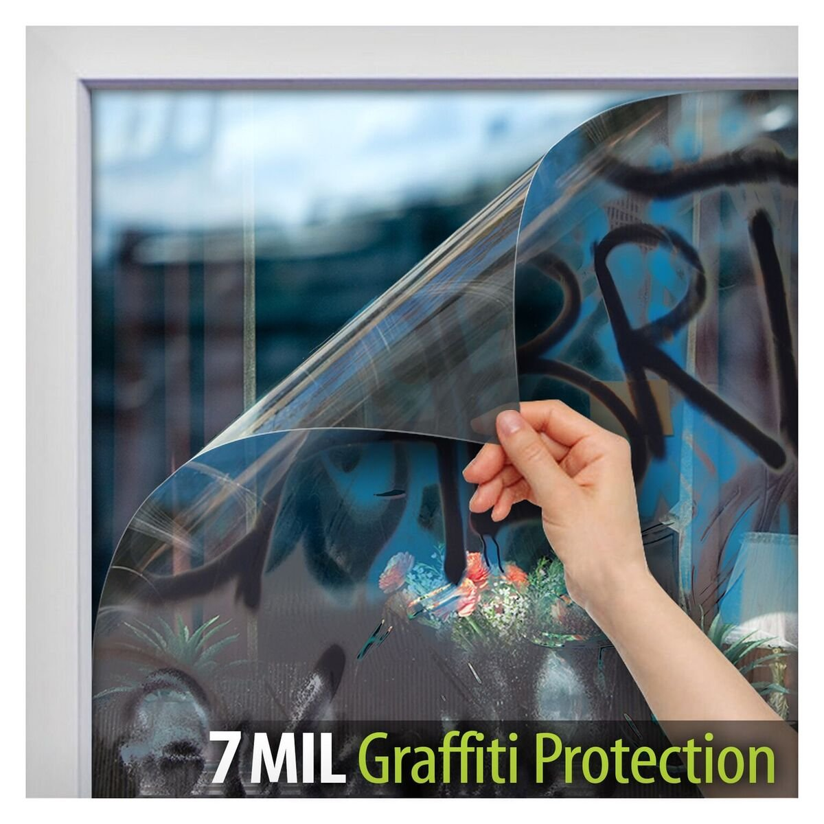 BDF AG7M Window Film Graffiti Protection 7 Mil Clear (36in X 50ft) Buydecorativefilm