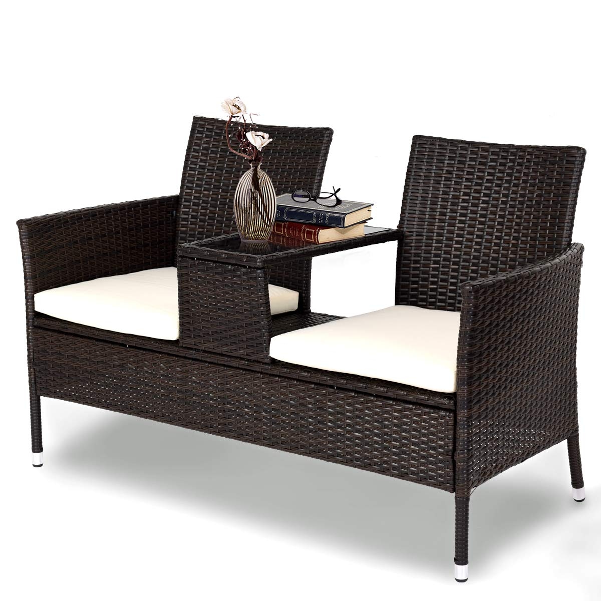 Tangkula outdoor furniture set patio conversation set with removable cushions table wicker modern sofas for garden lawn backyard outdoor chat set