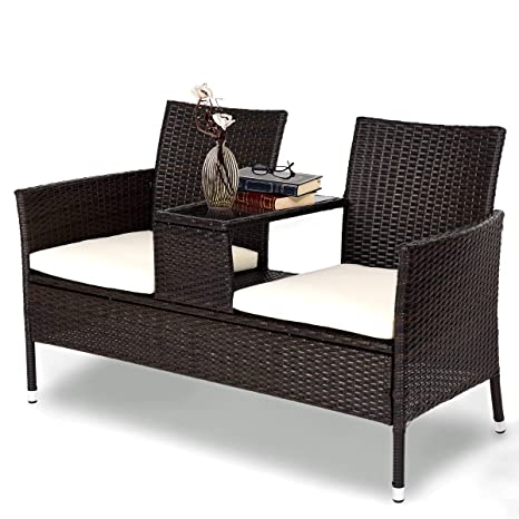 Amazon.com: Tangkula Juego de muebles de mimbre para ...