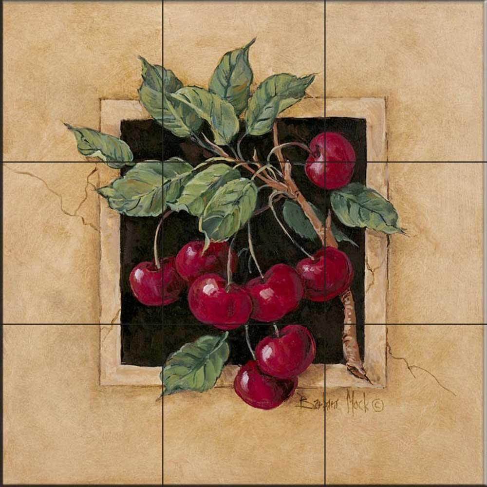 Ceramic Tile Mural - Cherry- Kitchen backsplash / Bathroom shower