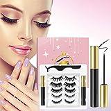 Magnetic Eyelashes with Eyeliner Kit,3D Upgraded Magnetic Eyelashes Kit with 5 Pairs Reusable False Eyelashes Natural…