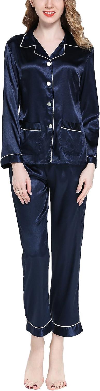 Asskyus Pigiama da Donna Top e Pantaloni Set di Raso Pantaloni a Maniche Lunghe da Donna