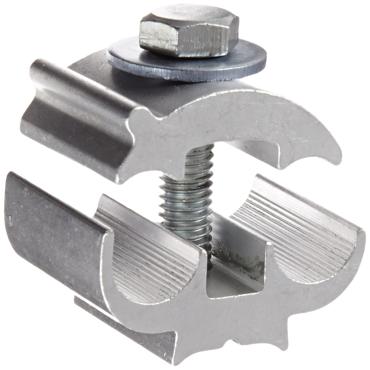 Utility Connector, Extruded Aluminum Parallel Groove Clamps, 2 sol - 4/0 str, 4-4/0 ACSR, 6-4 str AR A Main, 0.250''/0.563'' Wire Diameter Range, 2 sol - 4/0 str, 4-4/0 ACSR, 6-4 str AR B Tap, 0.250''/0.563'' Bolt Range, 3/8'' Size, 1-5/16'' Width, 1-1/2'' Lengt by NSI