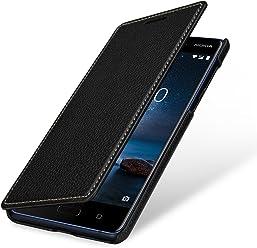 StilGut Book Type Case, custodia a libro booklet custodia orizzontale, cover apertura laterale in vera pelle per Nokia 8, Nero