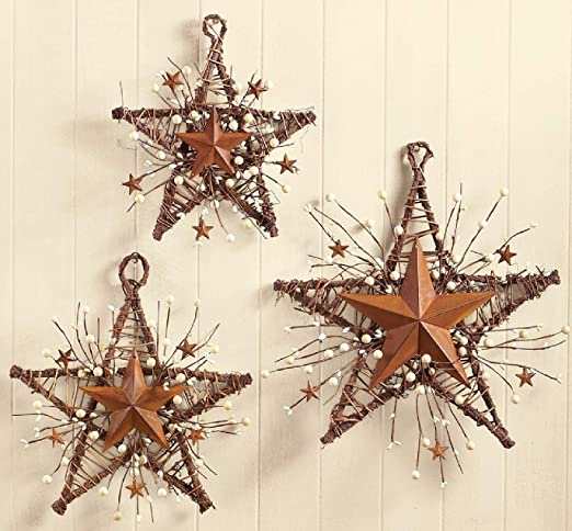 Wooden Stars Country Wall Decor With Jewels Rustic