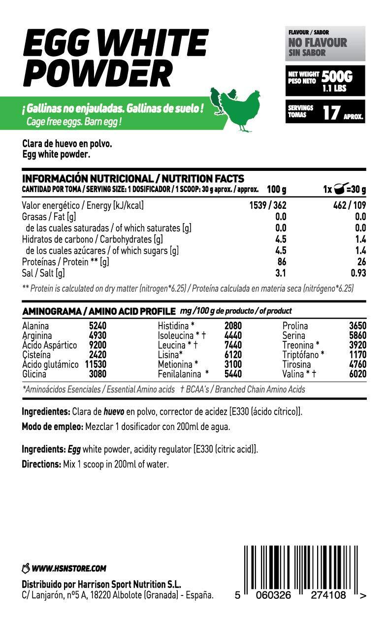 Clara de Huevo en Polvo de HSN Foods, 100% Proteína Natural sin Grasas, sin Colesterol, Sin Gluten, Sin Lactosa, Sin Sabor, 2000 gr