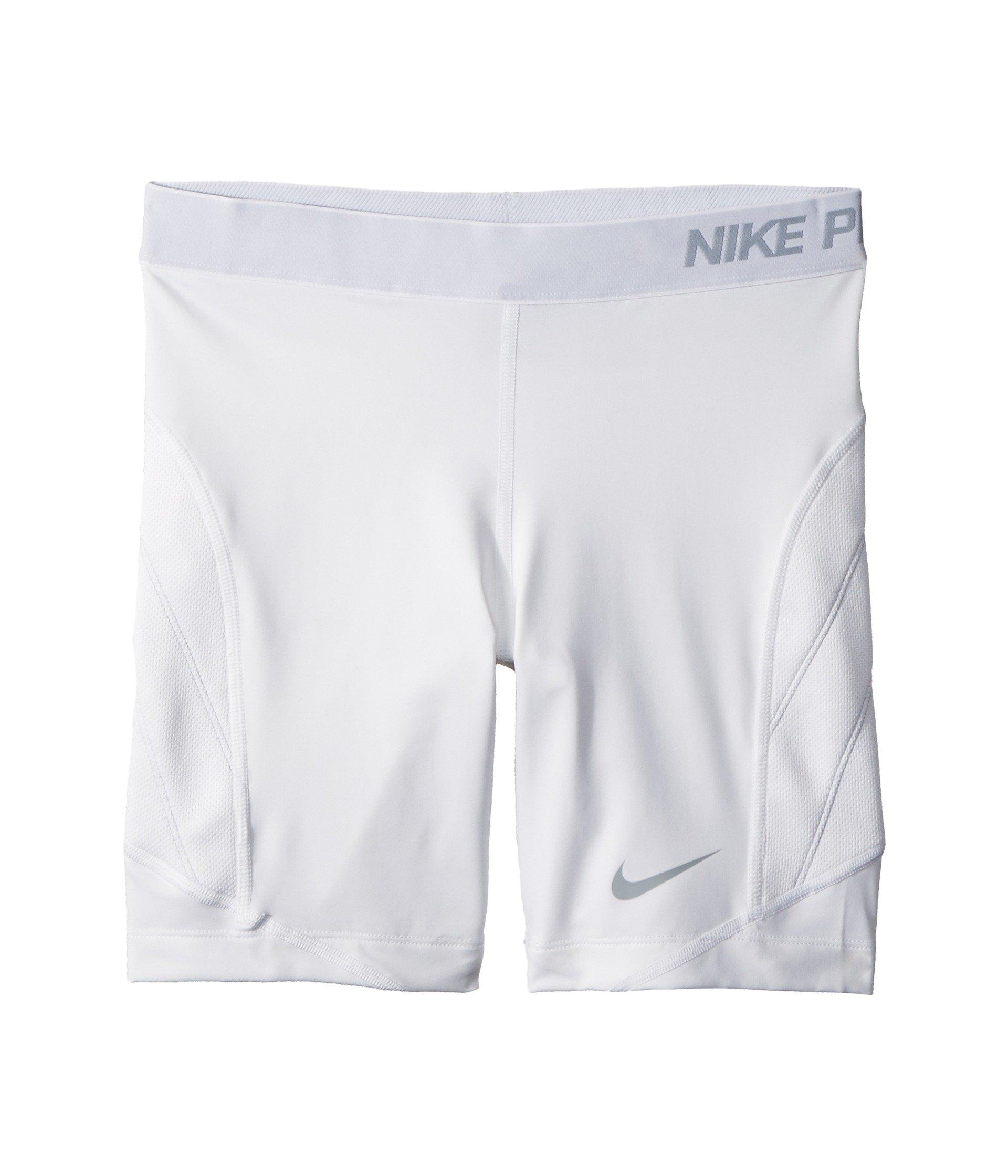 Nike Girls' Pro Sliding Shorts,(White/Wolf Grey,Large) by Nike