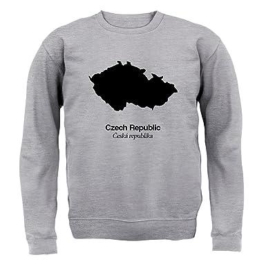 Czech Republic / Tschechische Republik Silhouette - Kinder  Pullover/Sweatshirt - Grau meliert - L