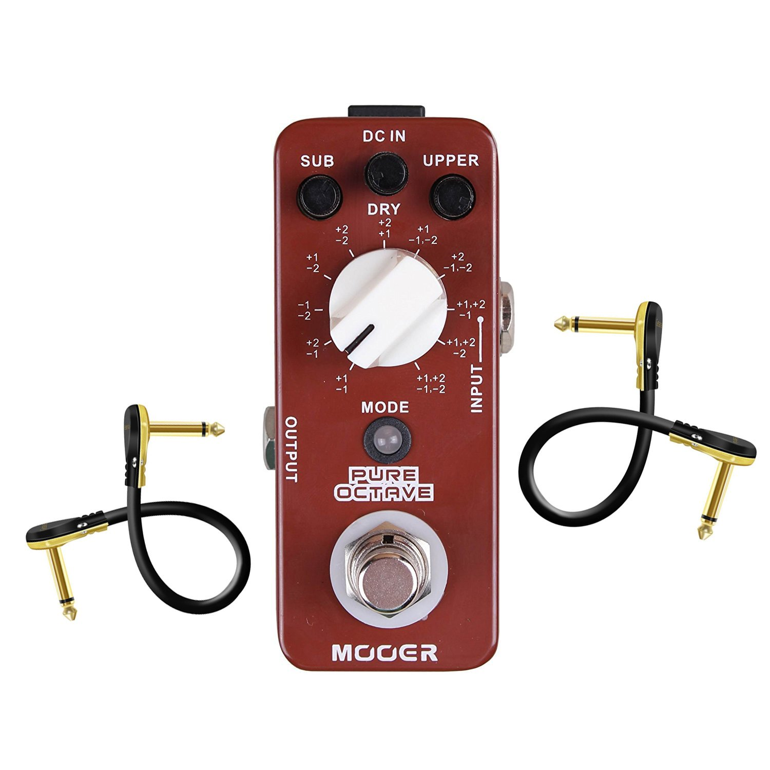 Mooer MOC1 Pure Octave Guitar Single Effect With 2 Getaria Pedal Cables by MOOER