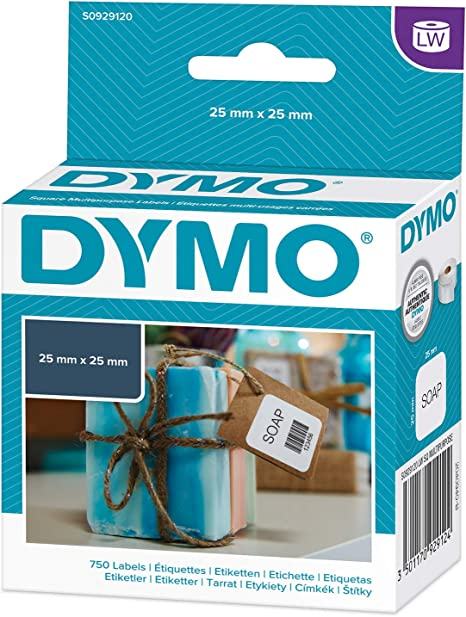 6 Rolls Dymo S0929120 Compatible Multipurpose Square Labels 25mm x 25mm