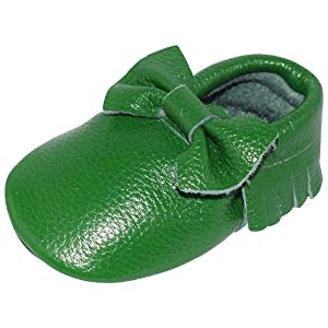 Unique Baby Leather Bow Moccasins Anti-Slip Tassels Prewalker Toddler Shoes (L (5.9 inches), Green)