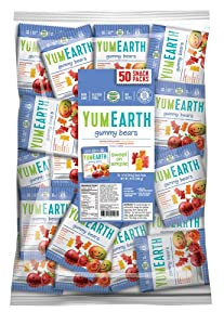 YumEarth Gluten Free Gummy Bears, 0.7 Ounce Snack Packs, 50 pack