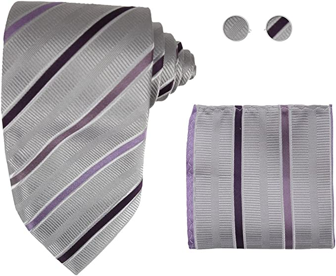 Y/&G Mens Fashion Fashion Multi-colored Paisley Tie Cufflinks Hanky Set Anniversary Silk Tie 3PT Free Box