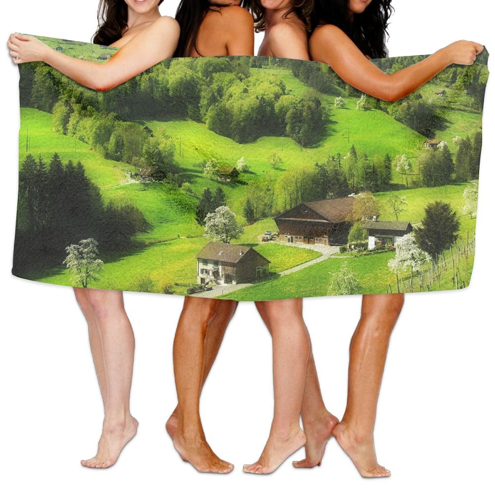 PengMin Country Mountain Landscape Premium 100% Polyester Large Bath Towel, Pool And Bath Towel (80'' X 130'') Natural, Soft, Quick Drying