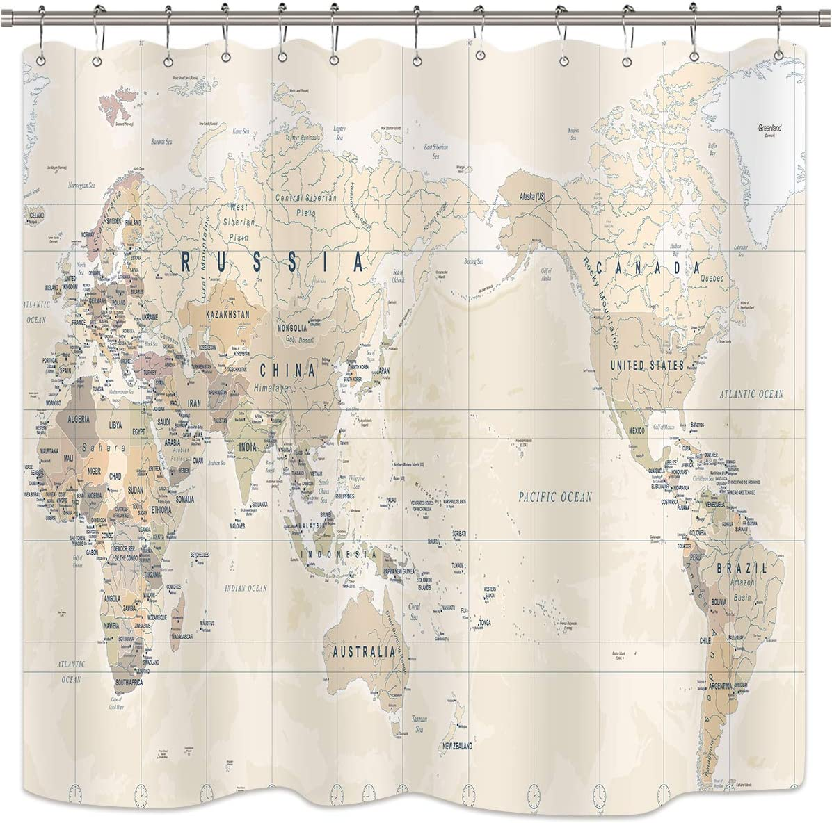 Riyidecor World Map Shower Curtain Travel Educational Vintage Geography Retro Countries Capital The Earth Decor Bathroom Fabric Set Polyester Waterproof Fabric 72Wx72H Inch 12 Pack Plastic Hooks