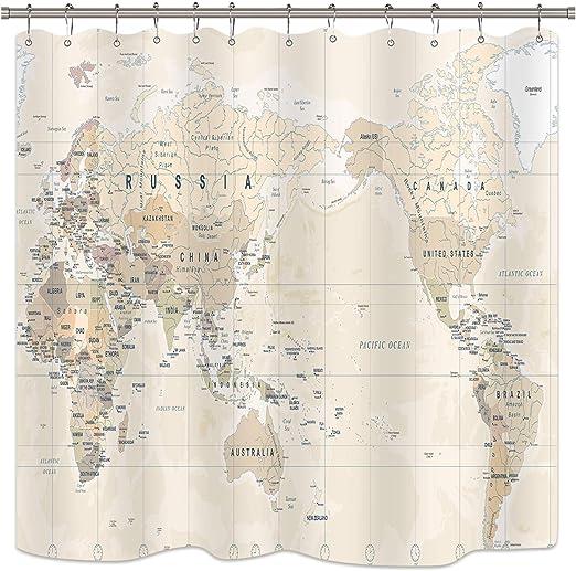 Amazon Com Riyidecor World Map Shower Curtain Travel Educational