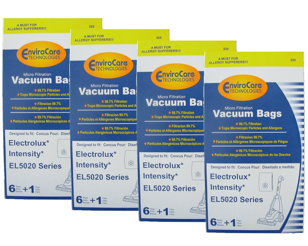 24 Electrolux Intensity EL5020 Series Mico Filtration EL206 A Bags & 4 Filter, Upright, Eureka Maxima Canister Vacuum Cleaners, EL206A and EL206,972b – this is not an exact fit. Check the dimensions to be certain it will work for you