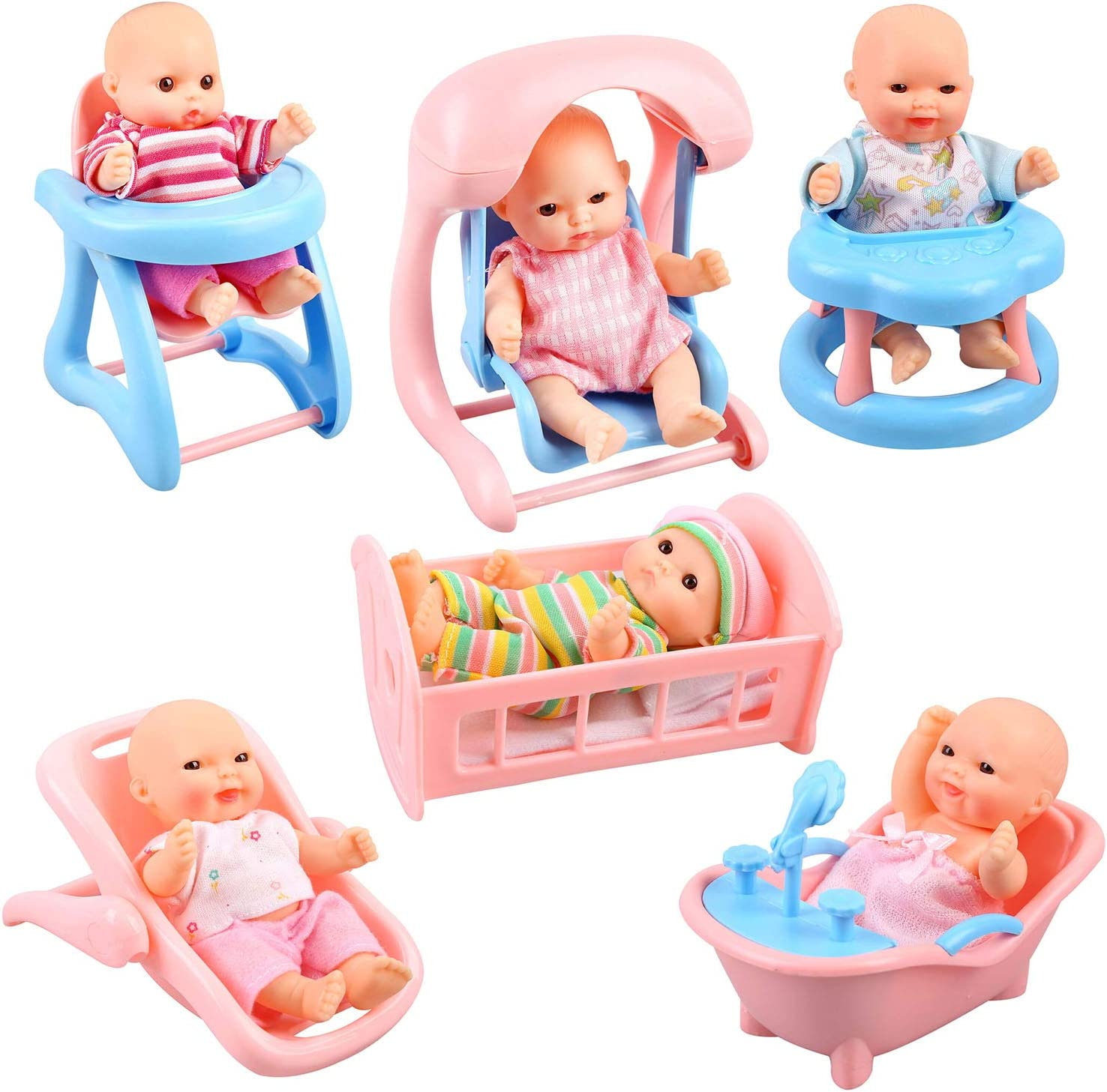 Urban Kit Set of 6 Mini Dolls for Girls with Accessories | Mini Baby Doll Accessories| Little Babies Dolls | Small Baby Dolls for Girls | Mini Toys for Girl