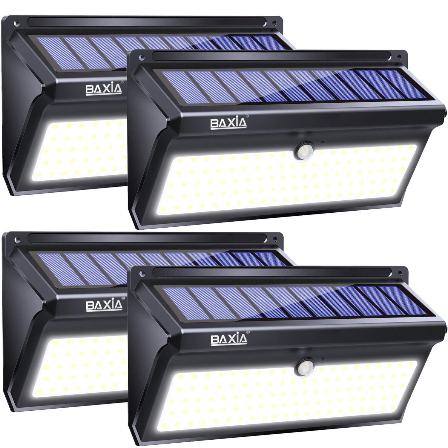 BAXIA TECHNOLOGY Solar Lights Outdoor, Wireless 100 LED Solar Motion Sensor Lights Waterproof Security Wall Lighting Outside for Front Door, Backyard, Steps, Garage, Garden (2000LM, 4PACK) by BAXIA TECHNOLOGY