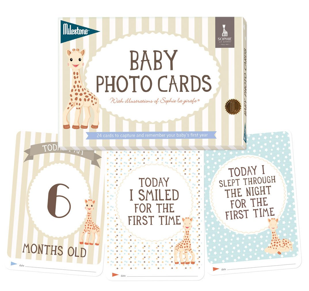 Milestone - Baby Photo Cards Sophie la girafe - Set of 24 Photo Cards to Capture Your Baby's First Year in Weeks, Months, and Memorable Moments MBCSLG