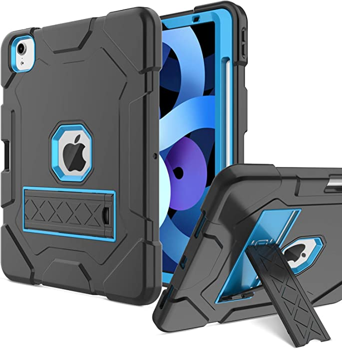 Venoro Compatible with iPad Air 4 Case,Shockproof Protective Full Body Case Cover with Pencil Holder and Kickstand for iPad Air 4th Generation 10.9 inch 2020/iPad Pro Case 11 inch 2020[Blue+Black]
