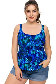 a9d9044819 Sociala Women s Plus Size Swimwear Tankini Top Printed Swimsuit Bathing Suit