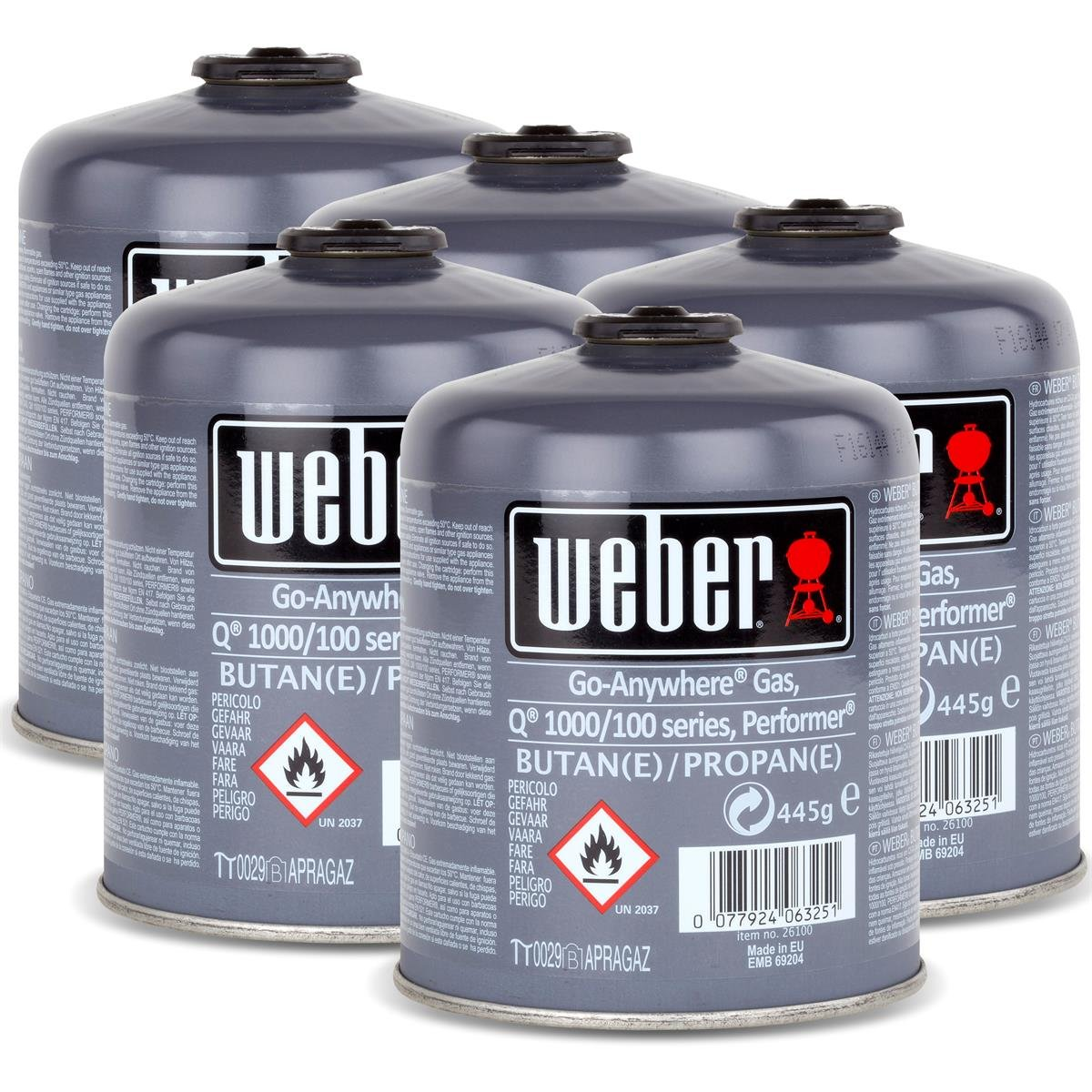 5 x Gas Cartridge for Weber Q 100 Series and Performer TOUCH-N-Go