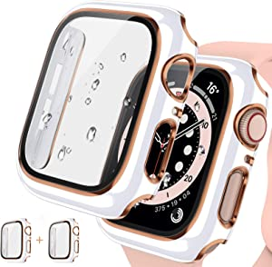 [2Pack] Tensea for Apple Watch Series 3 2 1 Case with Screen Protector 42mm Accessories, iWatch Protective PC Face Cover Built-in Tempered Glass Film, Hard Bumper Case Women (42 mm, White/Rose Gold)