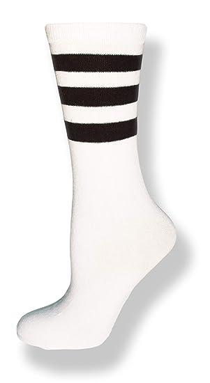 7cf4da643 Neon Nation Unisex Calf High White Sock w Three Stripes (White w Black