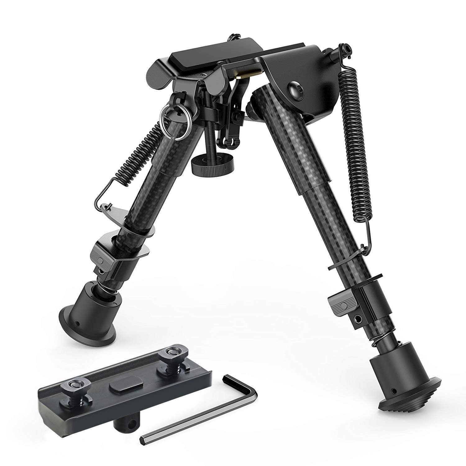 XAegis Carbon Fiber 6''- 9'' Rifle Bipod with M-lok Adapter for Hunting & Shooting Carbon Bipod by XAegis