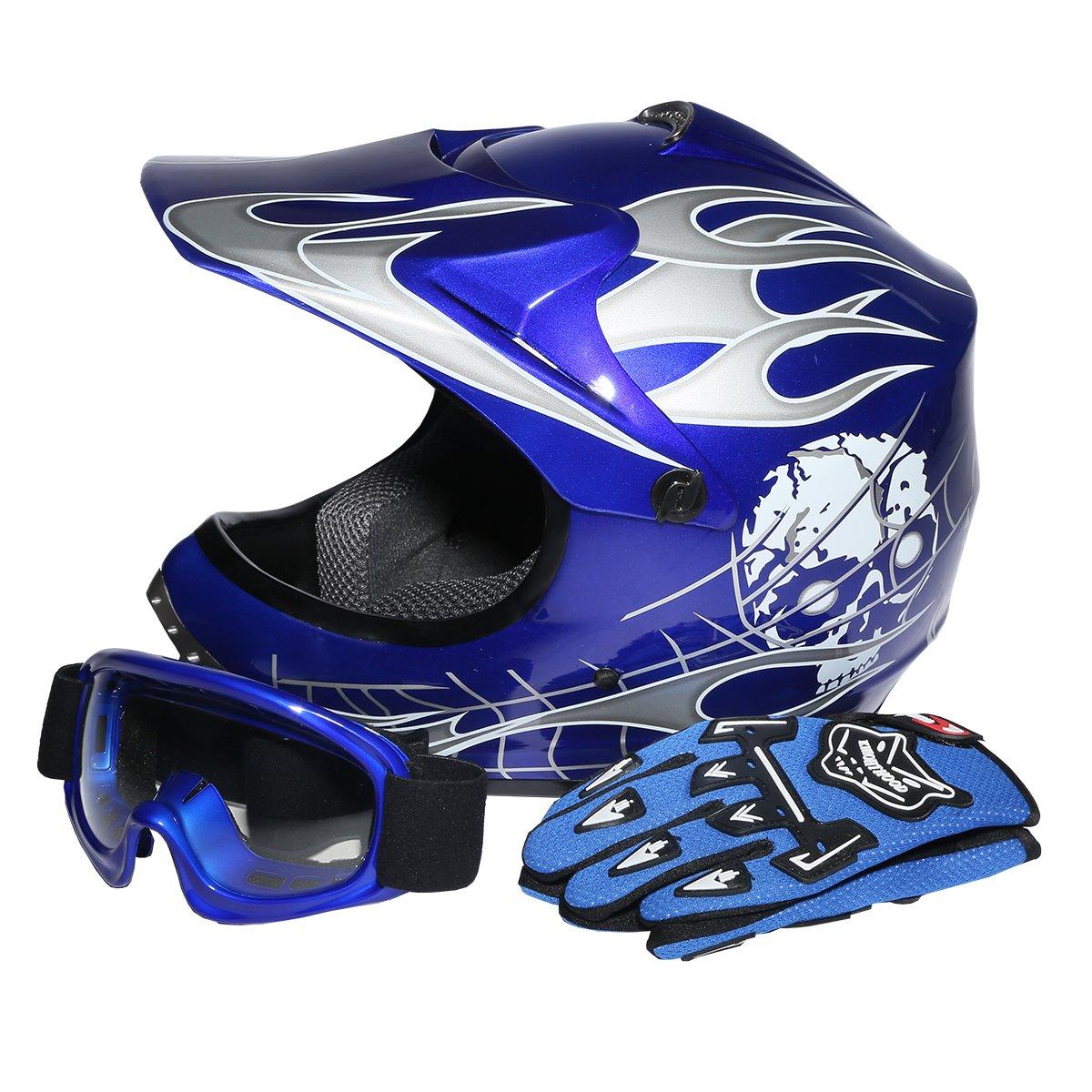 XFMT Youth Kids Motocross Offroad Street Dirt Bike Helmet Goggles Gloves Atv Mx Helmet Pink Butterfly (XL, Blue Skull)