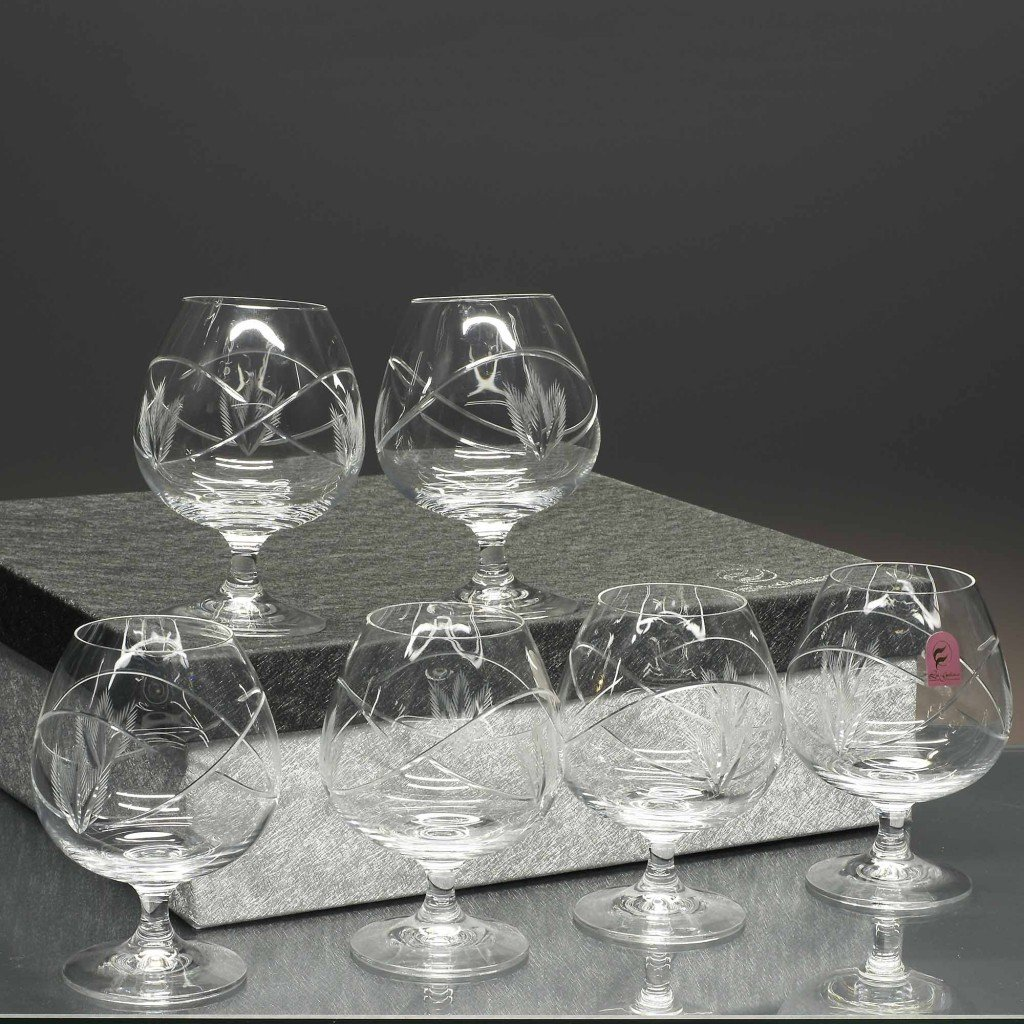 colecci/ón Gastro 15,5 cm talladas a Mano la galaica Juego de 6 Copas de Cristal para co/ñac o Brandy de Altura.