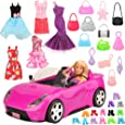 Barwa 26 Items for 28 - 30 cm 11.5 Inch Dolls: 1 Car + 5 Clothes Dresses + 10 PCS Shoes + 10 Bags