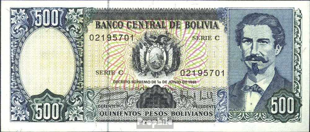 Bolivia Pick-No.: 166a 1981 500 Pesos Boliv. (Banconote ) Prophila Collection