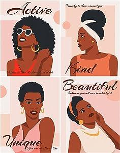 Black Girl Canvas Wall Art, 11W x 14H 4 Sets, Fashion African American Women Wall Art: Positive Affirmations Decor Poster for Girls, Teens, Women, Bedroom, Living Room, Bathroom, Dorm Apartment